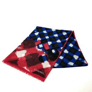 CHANEL 16S Shawl muffler Stole/Shawl Red/blue Cash